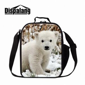 Dislalang Polar Bear Sac déjeuner isolé pour enfants Impression d'animaux Sac de refroidisseur Girly Lunch Conteneur Petite boîte Étudiant T7WY #