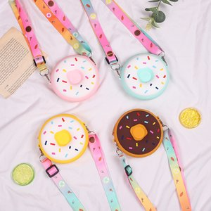 Cute Donutt Coin Bag Purse Keychain Children Adult Silicone Toy Pressure Relief Board Controller Toys Creativity Popper Bags W235