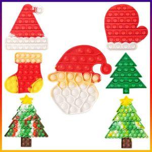 Árvore de Natal Moda Mitten Mitten Pop Pop Fidget Brinquedos Bolhas Popper Tarme Tintura Xmas Santa Cláusula Chapéu Caps Mitt Poo-Seu Dedo Puzzle Educacional Toyg74n73i