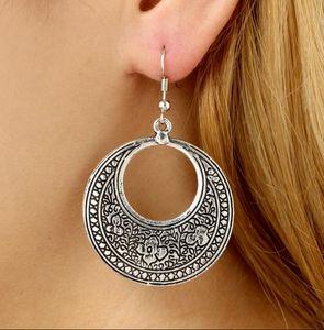 European Bohemia Style Carved Round Earrings Women Vintage Antic Silver Hoop Earrings Girls Exotic Charmps2877