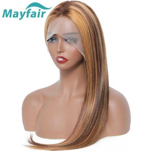 Mayfair destacar la peluca Human Hair Coloree Colore Color Straight Ombre Wigs Brown Rubia Hair 4x1 T Parte Lace WIG Brasileño Non-Remy