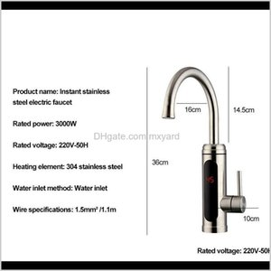 Electric Water Heater Temperature Display Kitchen Tankless Instant Hot Water Faucet 3000W Cwmsports Sea Sgipping Gwe4134 Ke0Ue Tbize