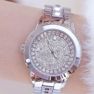 Saatı 2021 Lüks kadın saatler için tüm elmas gümüş su geçirmez kadın kuvars paslanmaz çelik bilezik