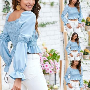 Women's Polos Women Summer Long Puff Sleeves Tops Elastic Solid Color Off Shoulder Pullover Casual Party Blouses M68C