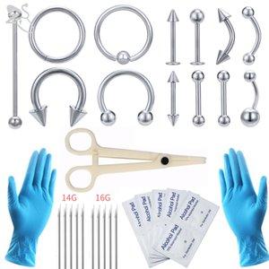 ZS الجسم ثقب أداة كيت 12-20 جرام المتاح المهنية الجسم ثقب الإبر المشبك قفازات أدوات الأذن تدراج الأنف السرة ثقب