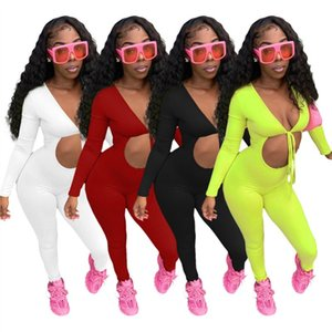 Bulk Items Wholesale Lots Jumpsuit for Women 2021 Bodycon Hollow Out Bandage Long Sleeve Sexy Night Club Wear Y2k K7355