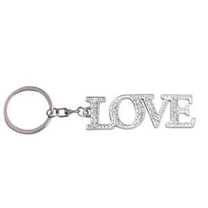 Romantic Diamond Letter KeyChain Pendant Metal Diamond LOVE Keyring Couple Key Chain Pendant Creative Accessories Gifts
