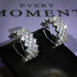 Choucong 독특한 귀 팔목 스파클링 고급 보석 925 스털링 실버 포장 화이트 사파이어 CZ 다이아몬드 올리브 가지 귀걸이 여성 웨딩 클립 귀걸이 연인 선물