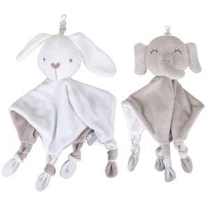 Cartoon Soft Soothing Towel Baby Animal Handkerchief with Ring Paper Security Blanket Baby Towel Toy Doll Elephant Rabbit Rattle