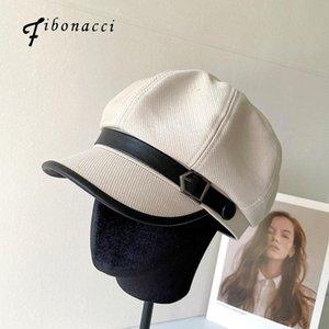 Fibonacci frühling sommerhüte für frauen achteckige kappe beret retro französisch künstler hut painter achteckige hüte schwarz beige casual cap