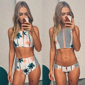 High Fashion-Women RETRO Tree Sexy Bikini Vintage Waist Bikinis Set Swimsuit Swimwear Push Up Bathing Suit Coconut Palm Beach
