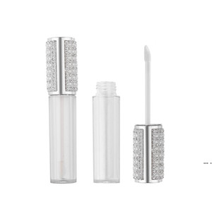 5ML Diamond Empty Round Lip Gloss Tube High Grade Clear Plastic Lip Gloss Containers Filling Bottle HWA3920