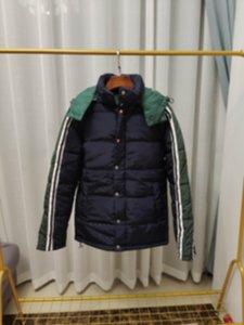Adam Tasarımcılar Giysi Ceketler Paris Mektubu Yeşil Şerit Pamuk Beyzbol Rahat Erkek Kışlık Mons Erkek Ceket Mavi Orta Uzunluk