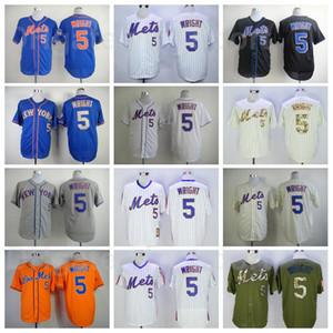 Hombres retro béisbol 5 david wright vintage jersey cosido equipo fleetbase fresco base retiro azul blanco naranja gris beige negro ejército verde verde