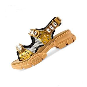 Hot High-quality leather G Velcro sandals women 2020 new leather rhinestone platform sponge cake sports casual shoes beach