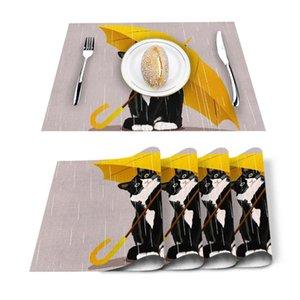 Table Runner 4 6pcs Yellow Umbrella Cat Kitchen Placemat Set Dining Mats Cotton Linen Pad Bowl Cup Mat Home Decor