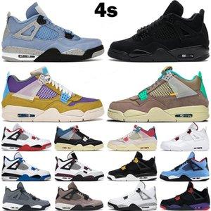 야외 신발 4S 4 사막 이끼 Taupe 헤이즈 화이트 오레오 검은 고양이 Bred Mens Runner Sports Shoe 36-46 University Blue Walking Athletic Sneaker