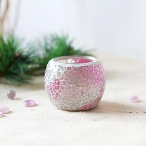 Mosaic Glass Candle Holder Creative Color Candle Cup Home Dining Table Valentine's Day Decoration Candle Holder Christmas Gift FWA3952