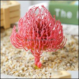 Decorative Flowers Wreaths Festive Party Supplies & Garden1Pcs Artificial Mini Suent Plant Garden Home Office Desk Decor Pvc Flocking Drop D