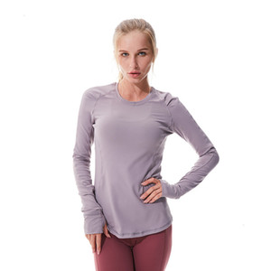 Tight skirt female Autumn sleeve and long winter t-shirt yoga clothes with thumb hole high elastic tights slim running fitness Designer