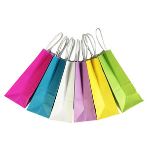 10PCS lot Multifunction soft color paper bag with handles 21x15x8cm Festival gift bag High Quality shopping bags kraft paper