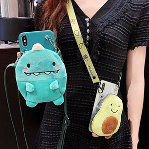 3D Cute Plush Avocado Wallet Crossbody Phone Case For iPhone 12Pro Max 11 XR 6 7 8 Plus XS MAX Dinosaur Soft Lanyard Strap Cover