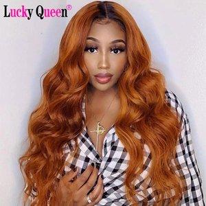Кружевные парики Оммре Оранжевый имбирь цветные 4x4 Закрытие Предварительно сочетается для женщин Lucky Queen Бразильская волна тела Девы человеческие волосы