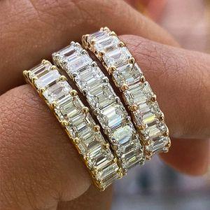 Hip Hop Micro Pavimed Quadrado Cúbico Zircônia Promessa Anéis de Amor para Mulheres Noivado Casamento Anel de Banda de Casamento 4mm CZ Anéis de Dedo Vintage Jóias Presente