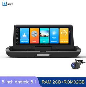 Car Dvr DVRs 8 Inch 4G ADAS Dash Cam Dashboard Android 8.1 GPS Navigator FHD 1080P Video Recorder Remote Monitor Dual Lens Rear Camera