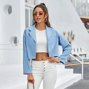 2021 Spring Fashion Short Coats Women Casual Loose Turn Down Collar Long Sleeve Office Lady New Style Solid Color Suit Coat Ozcc