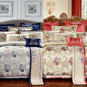 4 6 10pcs Oriental Jacquard Luxury Bedding Sets King queen Size Cotton Bed flat Sheet Set Bed Spread Duvet Cover Juego De Cama C0223