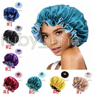 Seide Nachtkappe Hut Double Side Tragefrauen Kopfbedeckung Schlafkappe Satin-Motorhaube für schöne Haare Wecke perfekte tägliche Hut Party Hüte RRA4202