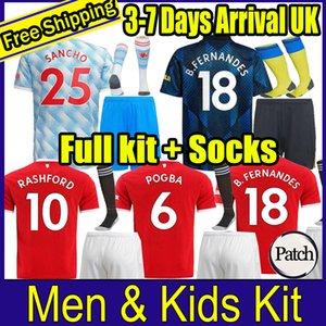 2021 POGBA MANCHESTER FERNANDES CAVANI UTD RASHFORD SHAW SANCHO Soccer Jersey Kids Man kit Football Shirt 21 22 equipment Adult suit kids+socks