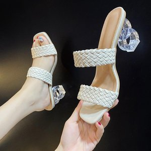 Summer Slippers Women High heels Fashion braid PU Leather Square toe shoes womens slippers outdoor rome sandals 35-40 A170
