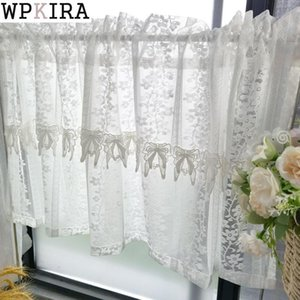 Curtain & Drapes Romantic Lace Bow Sheer Short Kitchen White Half Drape Small Window Door Voile Partition Home Decoration 053A#D