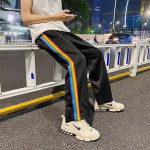 2021 Mens Designer Palm Loose Sports Pants Rainbow Side Stripes Drawstring Zipper Trousers Casual Sweatpants Angel M-2XL