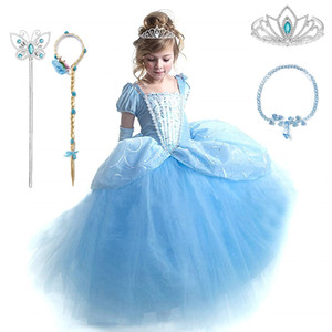 Cinderella Cosplay Costume Kids Clothes For Girls Dress Baby Girl Ball Gown Princess Dresses For Birthday Party Crown Gloves 210310