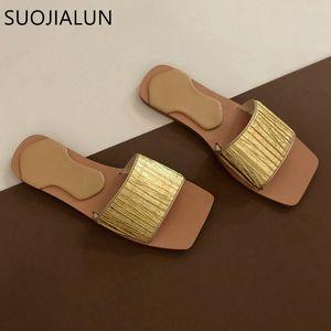 Suojialun 2020 Design Design Design Slipper Slipper Moda Golden Slides Pleated Beach Beach Flip Flops Flat Casual Open Toe Sandalo Q8hu #