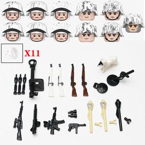 New Ww2 Army Snow Soldier Figures White Scarf Accessories Building Blocks Military Germany Anti Tank Weapons Helmet Bricks Toys