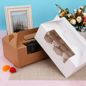 10pcs 6 Cavities Paper Cupcake Box Portable Dessert Containers Bakery Cake Carriers for Home Dessert Shop (White)
