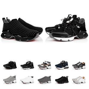 Luxurys Designers Sapatos Vermelho Treinadores Homens de Couro Sapatilhas Tênis De Moda Treinadores Preto Sapatos Flat Sapatilhas Top Sneakers Botas Tamanho US5-US13