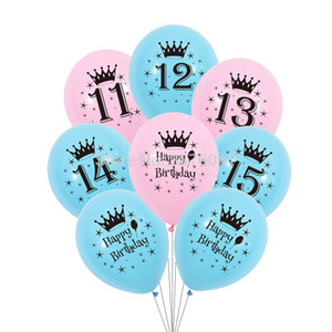 12 pcs lot 11 12 13 14 15 year birthday balloon kids boy girl birthday party decorations happy birthday anniversary balloons