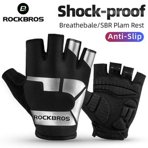 ROCKBROS Women Men Anti-slip Cycling Gloves Breathable Bicycle Half Gloves Comfortable Fashion Printing Outdoor Sports Gloves
