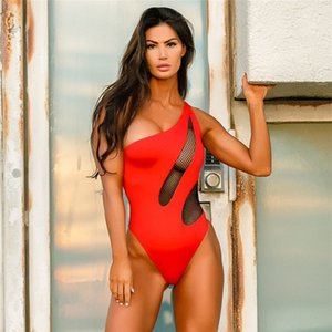 Sexy Womens Mesh Patchwork One Piece Swimsuits Red Backless Monokini Bathing Suit Fashion Biquini Beach Swimwear