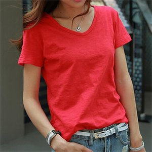 New Summer of Short Korean Wild Leisure Bamboo Cotton Tightly Knit Neckline Shirt Feminine Fashion Bvux