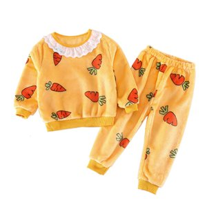 Warm Baby Girl Clothes Pajamas Set Flannel Fleece children's clothing Thicken Toddler Sleepwear Autumn Winter Kids Home Suits