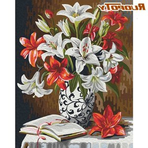 RUOPOTY Paint By Numbers Kits For Adults Children Handmade DIY Oil Painting Lily Flower Picture By Number 40x50 Framed Unique Gi