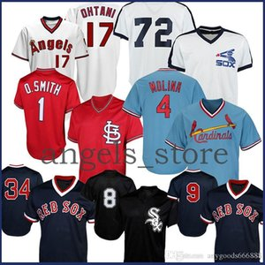 2020 레드 9 Ted Williams Sox Ortiz Jersey 4 Yadier Molina Cardinal Smith 27 Mike Trout Angels 17 Ohtani 시카고 화이트 8 Bo Jackson 72 Fisk