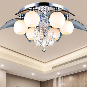 Lotus flower crystal chandelier crystal lighting modern minimalist living room led lamp bedroom lamp restaurant creative ceiling light