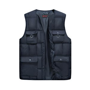 Mens Multi-Pocket Winter Padded Cotton Jacket Warm Puffer Vest Travelers Vest Men Casual Waistcoat Male 2018 NEW